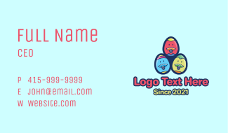 Happy Mustache Easter Eggs Business Card