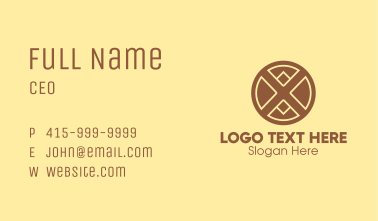 Modern Brown Letter X  Business Card