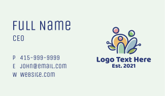 Colorful Family People  Business Card