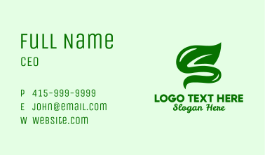 Leafy Letter S  Business Card
