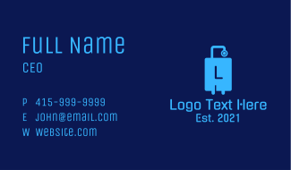 Blue Tech Luggage Letter Business Card