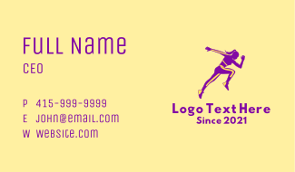 Athletic Woman Jumping Business Card