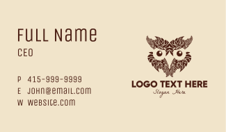 Feather Owl Face Business Card