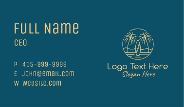Yellow Tropical Surfboards Business Card