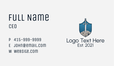 Sword Excalibur Insignia Business Card