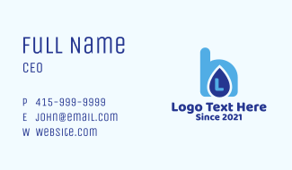 Water Drink Letter Business Card