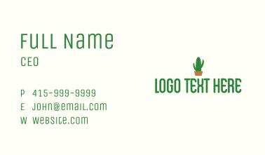 Green Cactus Wordmark Business Card