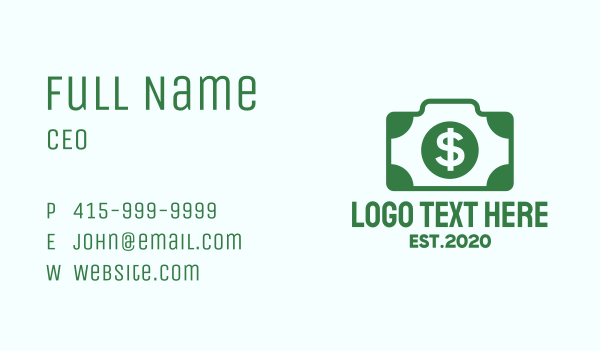 dollar sign - Dollar Camera Business card horizontal design