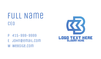 Blue Arrow B Outline Business Card