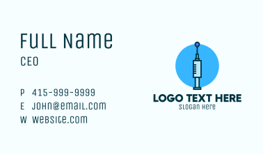 Blue Needle Vaccination Business Card