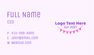Party Banner Wordmark Business Card