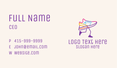 Colorful Running Shoe Business Card