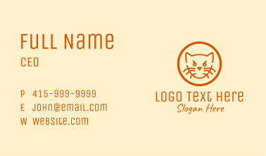 Angry Orange Cat  Business Card