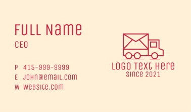 Mail Delivery Van Business Card