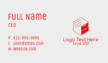 Red File Cabinet  Business Card
