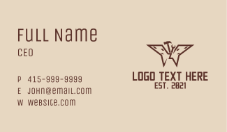 Brown Construction Butterfly Business Card