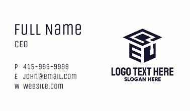 Graduation Isometric Letter E Business Card