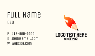 Fire  Pencil Business Card