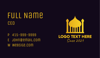 Gold Arabic Mosque Business Card