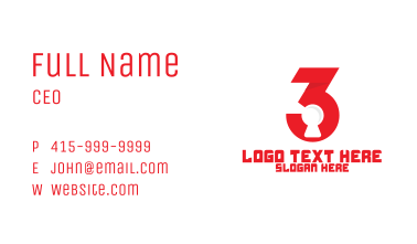 Red Number 3 Lock Business Card