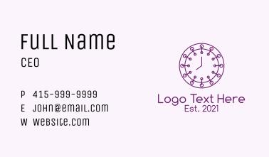 Purple Minimalist Clock  Business Card