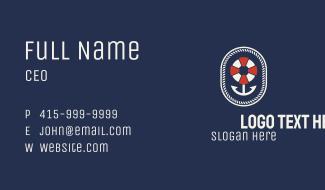 Nautical Anchor Lifesaver Emblem Business Card