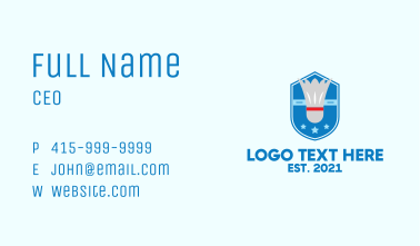 Badminton Sports Emblem Business Card
