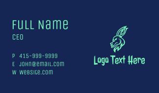 Neon Rabbit Head Business Card