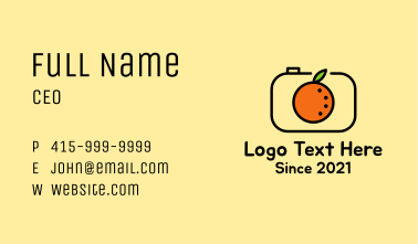 Orange Fruit Camera Business Card