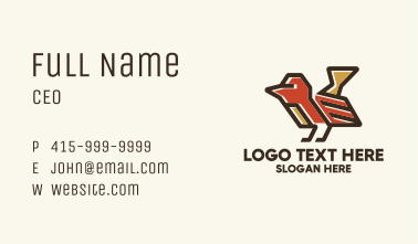 Geometric Red Bird  Business Card