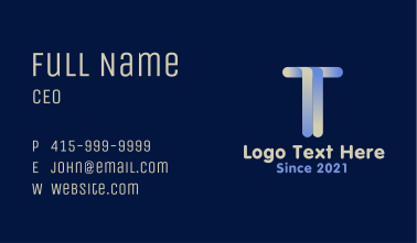 Letter T Construction Company Business Card