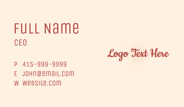 maroon - Tropical Wordmark Business card horizontal design