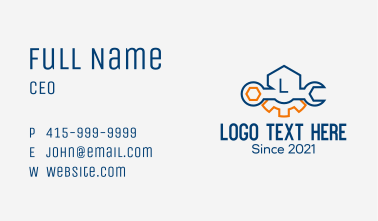 Minimalist Wrench Lettermark  Business Card