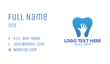 Blue Hand Tooth Business Card