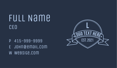 Classic Line Art Emblem Business Card