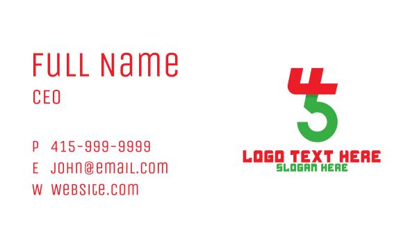 treasurer - Number 45 Monogram Business card horizontal design
