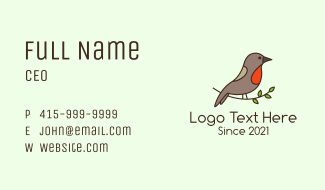 Perched Sparrow Bird Business Card