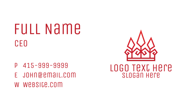 legal services - Red Geometric Crown Business card horizontal design