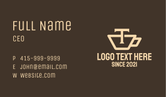 Teacup Letter T Business Card