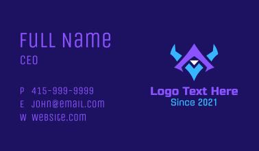 Letter V Horned Mask  Business Card