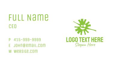Green Virus Face Mascot Business Card