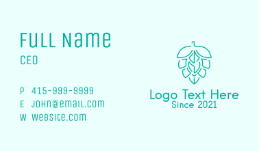 Green Outline Hop  Business Card