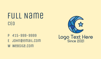 Blue Arabic Moon Star Business Card