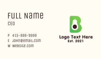 Avocado Letter B Business Card
