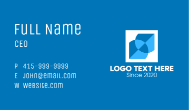 Blue Intersecting Geometric Shape Business Card