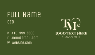 Gardening Monogram T & M Business Card