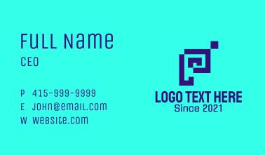 Blue Pixel Letter P Business Card