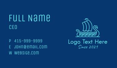 Outline Viking Boat  Business Card