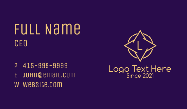 Minimalist Yellow Star Letter Business Card