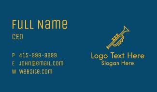 Gold Monoline Trumpet Business Card